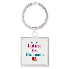 Personalize Future Mrs,___ Square Keychain