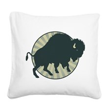 American Bison Square Canvas Pillow