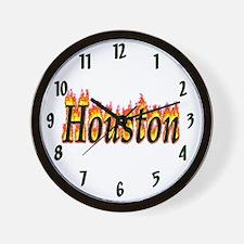 Houston Flame Wall Clock