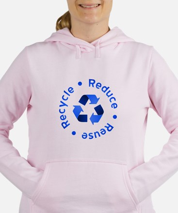 Blue Reduce Reuse Recycle Women's Hooded Sweatshir