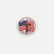 God Bless America And Cross With Usa Mini Button