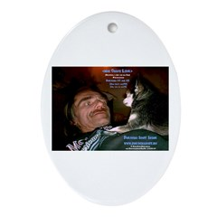 Mad Crazy Love Art Dog Oval Ornament