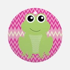 Cute Frog on Pink Ornament (Round)