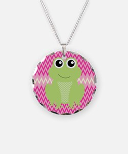 Cute Frog on Pink Necklace