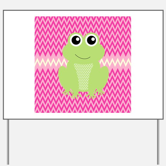 Cute Frog on Pink Yard Sign