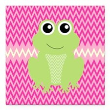 """Cute Frog on Pink Square Car Magnet 3"""" x 3"""""""