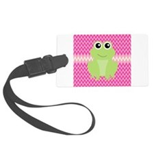 Cute Frog on Pink Luggage Tag