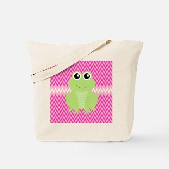 Cute Frog on Pink Tote Bag