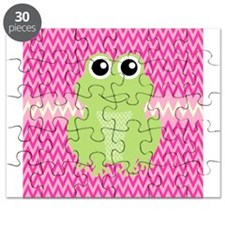 Cute Frog on Pink Puzzle