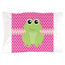 Cute Frog on Pink Pillow Case