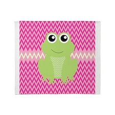 Cute Frog on Pink Throw Blanket