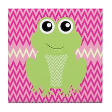 Cute Frog on Pink Tile Coaster