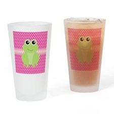 Cute Frog on Pink Drinking Glass