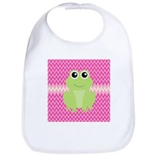Cute Frog on Pink Bib