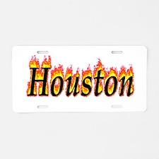 Houston Flame Aluminum License Plate