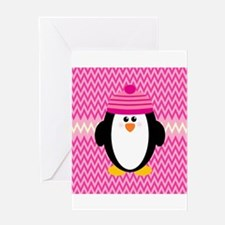 Penguin on Pink ZigZags Greeting Cards