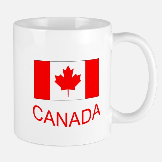 Canada flag and country name. Canada Day. Mugs
