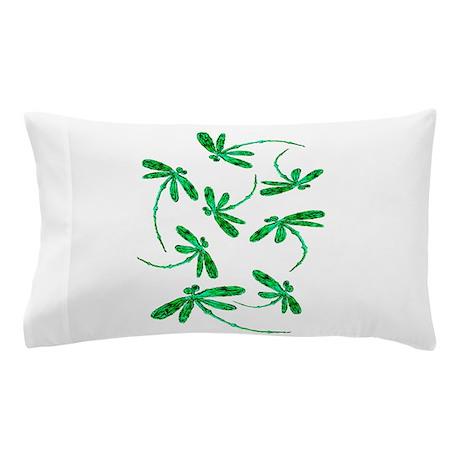 Dragonflies Neon Green Pillow Case By LyndseyArt
