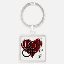 Cute Polyamory Square Keychain