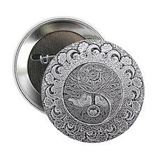 """Shiny Metallic Tree of Life Yin Yang 2.25"""" Button"""