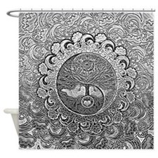 Shiny Metallic Tree Of Life Yin Shower Curtain