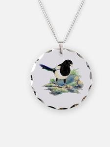 Watercolor Curious Magpie Necklace