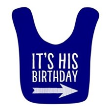 It's His Birthday (right Arrow) Blue Bib