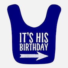 It's His Birthday (right Arrow) Blue Bib