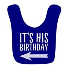 It's His Birthday (left Arrow) Blue Bib