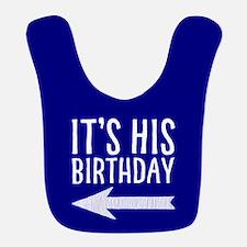 It's His Birthday (left Arrow) Blue Bib
