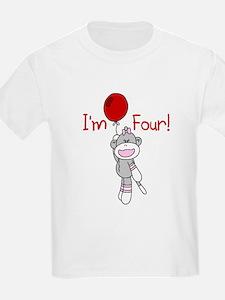 Sock Monkey 4th Birthday T-Shirt