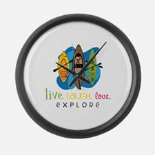 Live Laugh Love Explore Large Wall Clock
