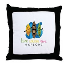 Live Laugh Love Explore Throw Pillow