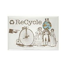 Retro Recycle Rectangle Magnet