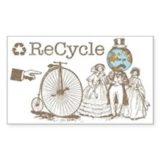 Retro Recycle Rectangle Decal