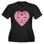 Bijii Heartknot Women's Plus Size V-Neck Dark T-Sh