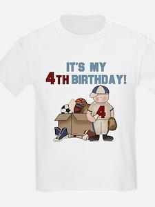 I Love Sports 4th Birthday Kids T-Shirt