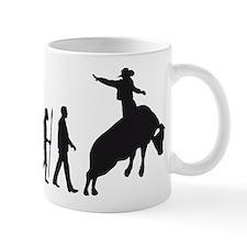 evolution of man cowboy rodeo bull riding Mugs