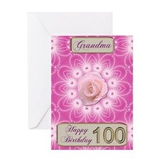 100th Birthday, for grandma with a rose Greeting C