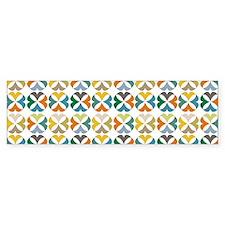 Quarter Circles Floral Pattern Bumper Sticker