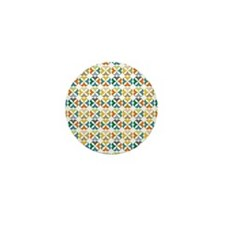 Quarter Circles Floral Pattern Mini Button