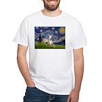 Starry Night Whippet White T-Shirt