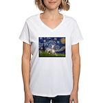 Starry Night Whippet Women's V-Neck T-Shirt
