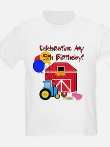 Farm 5th Birthday Kids T-Shirt