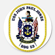 DDG 53 USS John Paul Jones Round Car Magnet