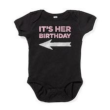 It's Her Birthday (left Arrow) Baby Bodysuit