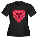 Chante Heartknot Women's Plus Size V-Neck Dark T-S
