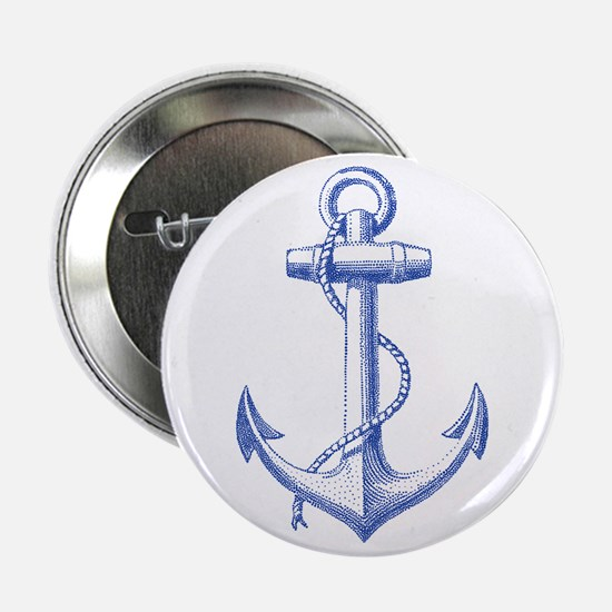 """vintage navy blue anchor 2.25"""" Button"""