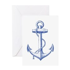 vintage navy blue anchor Greeting Cards
