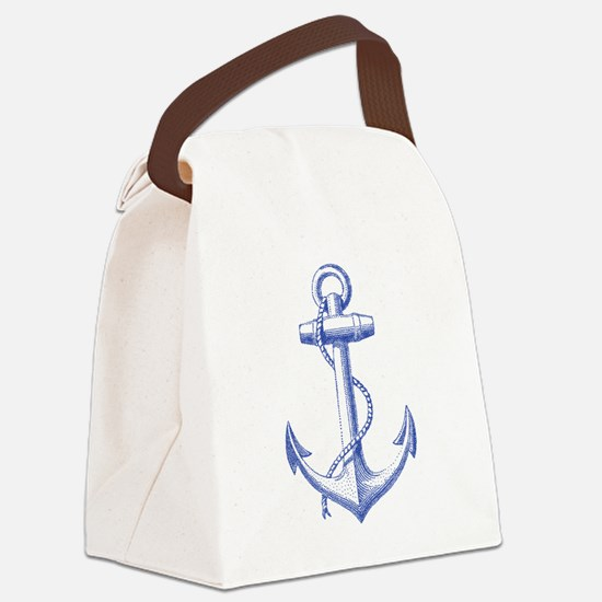 vintage navy blue anchor Canvas Lunch Bag